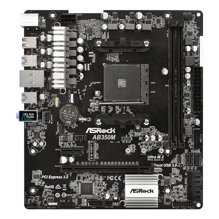 AB350M, AMD B350 Chipset, AM4, microATX Motherboard