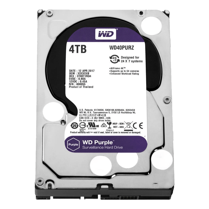 4TB Purple WD40PURZ, 5400 RPM, SATA 6Gb/s, 64MB cache, 3.5-Inch, OEM HDD