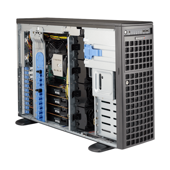 SuperWorkstation 7049GP-TRT, 4U/Tower, Intel C621, 8x SATA, 16x DDR4, 2x Dual 10Gb Ethernet, 2200W Rdt PSU
