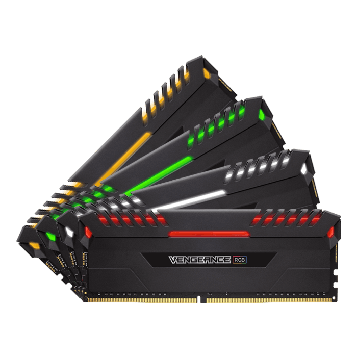 32GB Kit (4 x 8GB) Vengeance RGB DDR4 3466MHz, CL16, Black, RGB LED, DIMM Memory