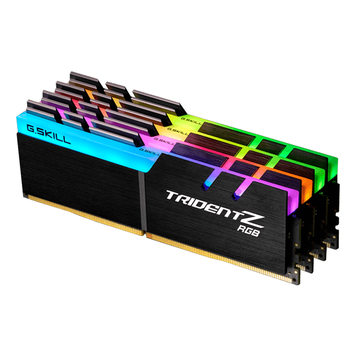 64GB Kit (4 x 16GB) Trident Z RGB DDR4 3600MHz, CL17, Black, RGB LED, DIMM Memory