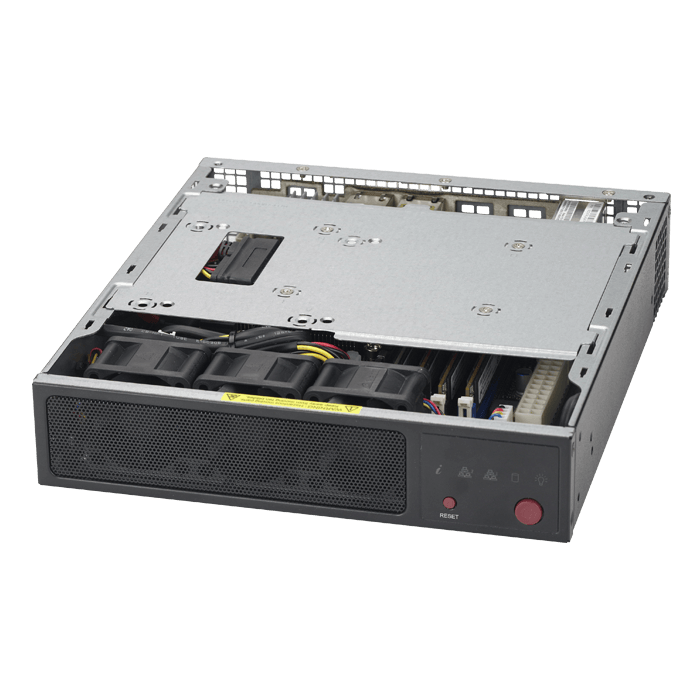 SuperServer E200-9A, Mini-1U, Intel® Atom® C3558, 1x SATA, 4x DDR4, Quad 1Gb Ethernet, 60W PSU
