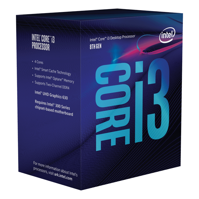 Core™ i3-8100 4-Core 3.6GHz, LGA 1151, 65W TDP, Retail Processor