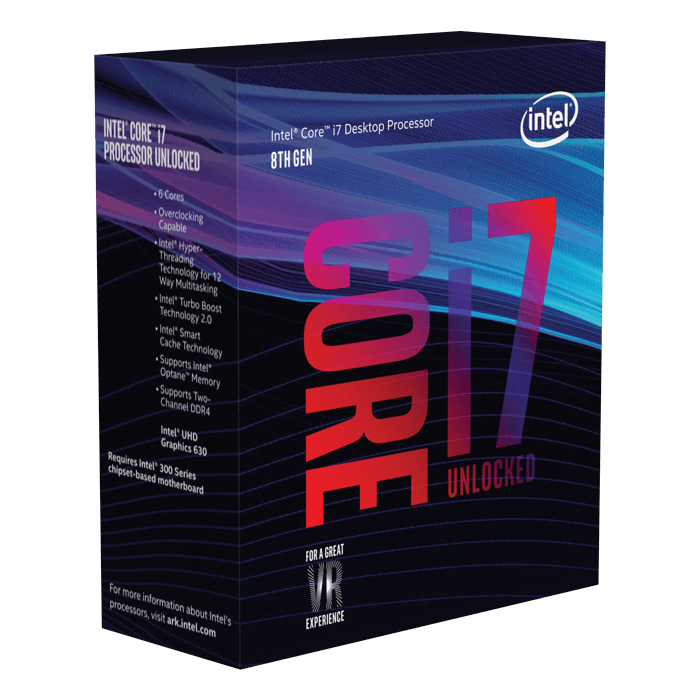 Core™ i7-8700K 6-Core 3.7 - 4.7GHz Turbo, LGA 1151, 95W TDP, Processor