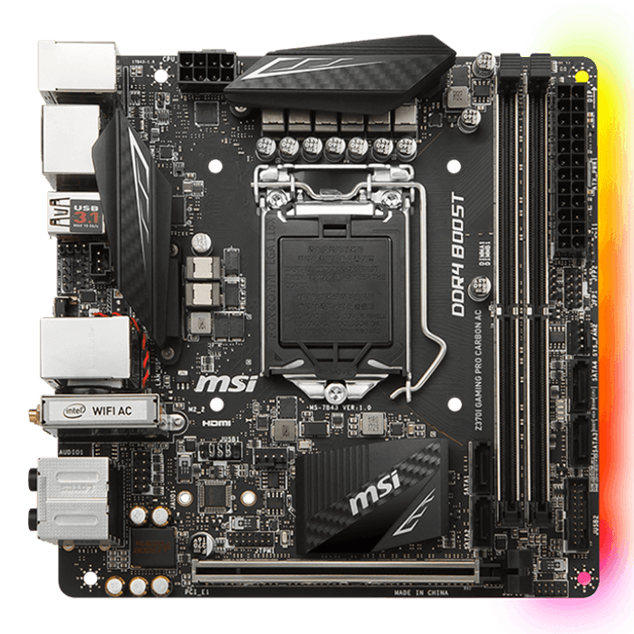 Z370I GAMING PRO CARBON AC, Intel Z370 Chipset, LGA 1151, HDMI, Mini-ITX Motherboard