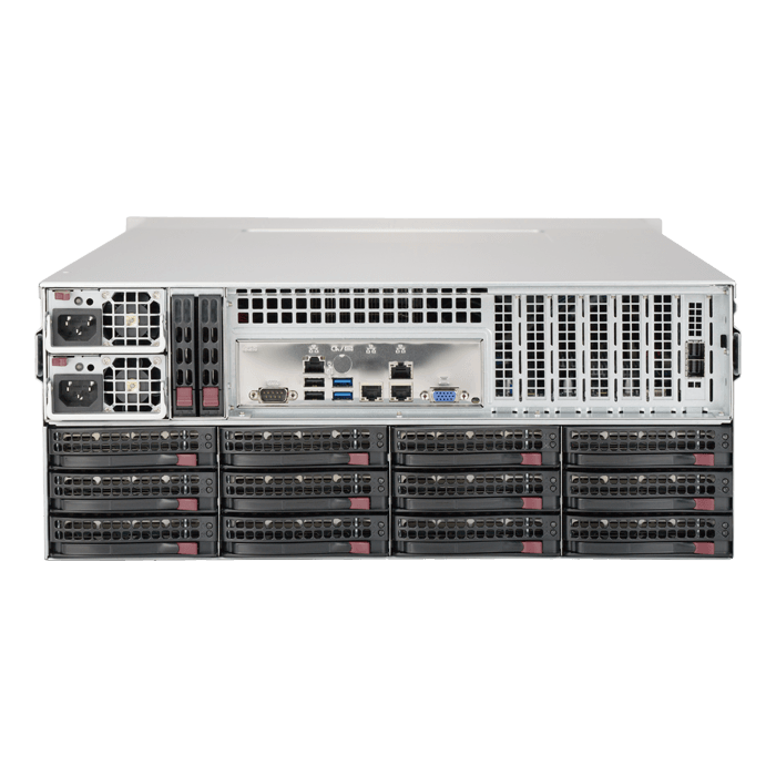 SuperStorage Server 5049P-E1CTR36L, 4U, Intel C622, 36x SAS/SATA, Broadcom 3008 12Gbps SAS, 8x DDR4, Dual 10Gb Ethernet, 1200W Rdt PSU