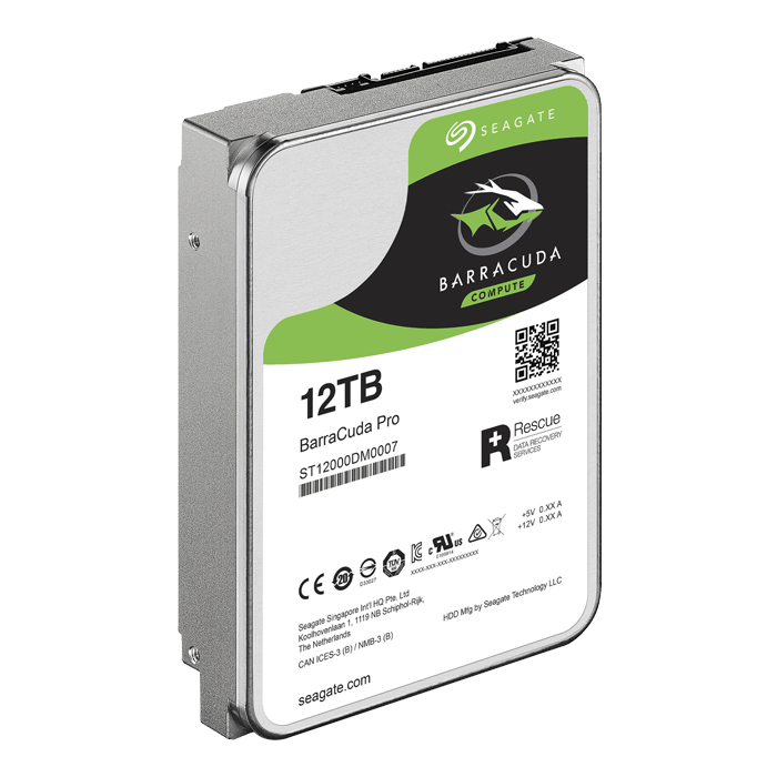 12TB BarraCuda Pro ST12000DM0007, 7200 RPM, SATA 6Gb/s, 512E, 256MB cache, 3.5-Inch OEM HDD