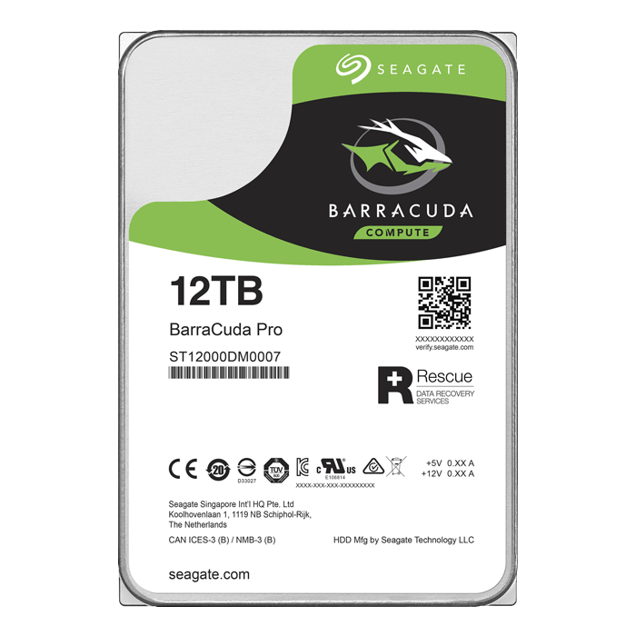 12TB BarraCuda Pro ST12000DM0007, 7200 RPM, SATA 6Gb/s, 512E, 256MB cache, 3.5-Inch HDD