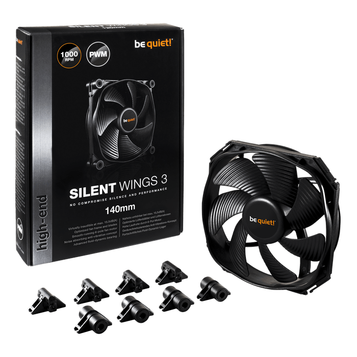 SILENT WINGS 3 140mm PWM, 1000 RPM, 59.5 CFM, 15.5 dBA, Cooling Fan