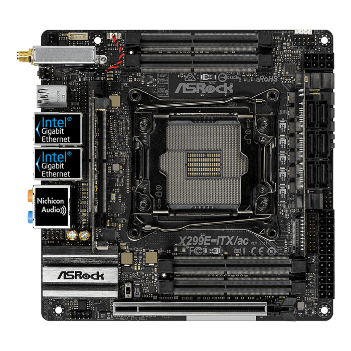 X299E-ITX/ac, Intel X299 Chipset, LGA 2066, Mini-ITX Motherboard