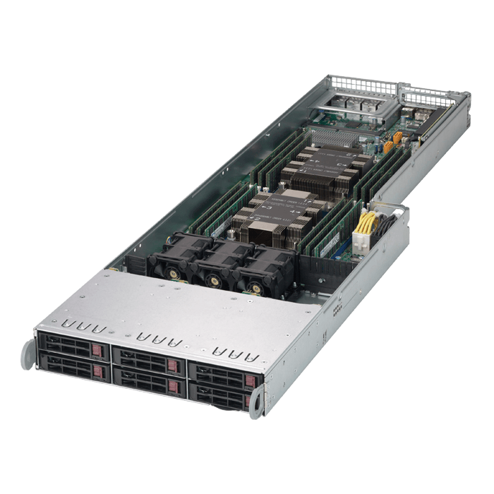SuperServer F619P2-RC1, 4U FatTwin, Intel C621, 48x SAS/SATA or 16x SAS/SATA / 32x NVMe, 96x DDR4, 8x SIOM flexible Network card, 2200W Rdt PSU