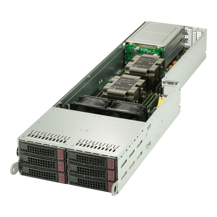 SuperServer F629P3-RTB, 4U FatTwin, Intel C621, 32x SATA, 48x DDR4, 4x SIOM flexible Network card, 1200W Rdt PSU