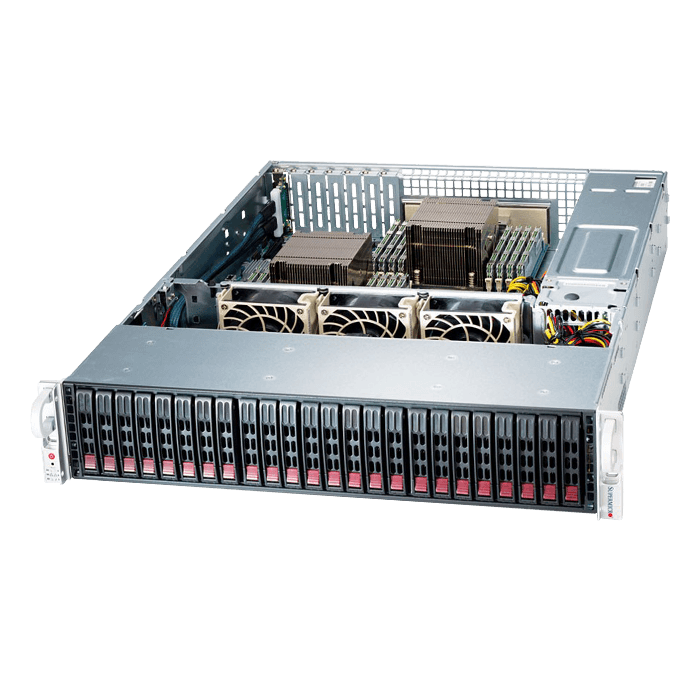 SuperServer 2029P-E1CR24L, 2U, Intel C624, 24x SATA/SAS, 16x DDR4, Broadcom 3008 AOC, Dual 10Gb Ethernet, 1200W Rdt PSU