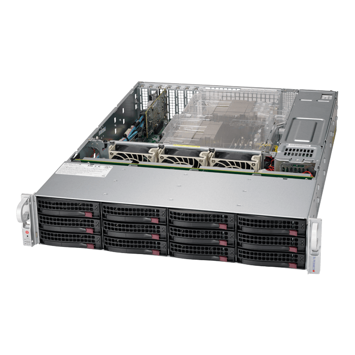 SuperServer 6029P-E1CR12L, 2U, Intel C624, 12x SATA/SAS, 16x DDR4, Broadcom 3008 AOC, Dual 10Gb Ethernet, 1200W Rdt PSU