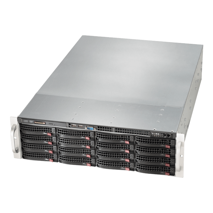 SuperServer 6039P-E1CR16L, 3U, Intel C624, 16x SATA/SAS, 16x DDR4, Broadcom 3008 AOC, Dual 10Gb Ethernet, 1200W Rdt PSU