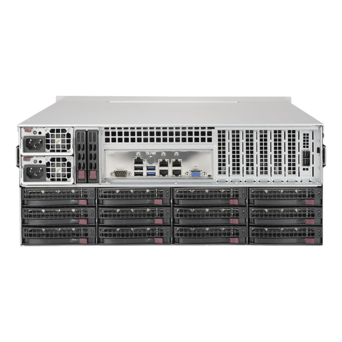 SuperServer 6049P-E1CR36H, 4U, Intel C624, 36x SATA/SAS, 16x DDR4, Broadcom 3108 AOC, Dual 10Gb Ethernet, 1200W Rdt PSU