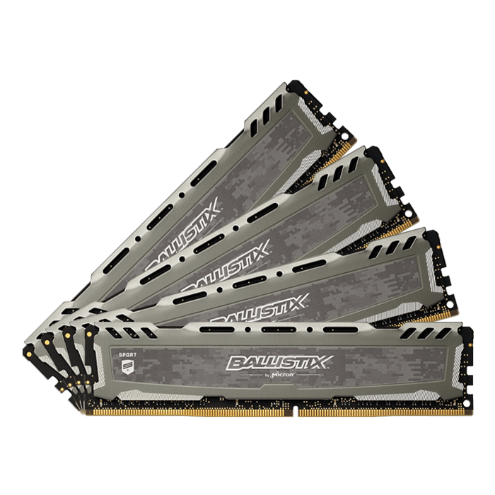 32GB Kit (4 x 8GB) Single-Rank Ballistix Sport LT DDR4 2666MHz, CL16, Grey, DIMM Memory