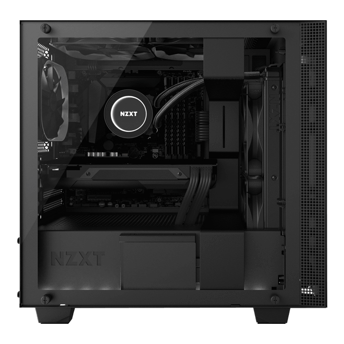 H Series H400i Tempered Glass, No PSU, microATX, Black, Mini Tower Case
