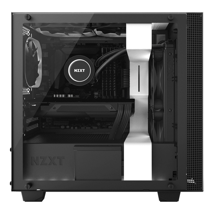 H Series H400i Tempered Glass, No PSU, microATX, White/Black, Mini Tower Case