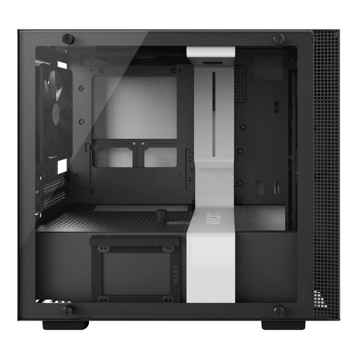 H Series H200i Tempered Glass, No PSU, Mini-ITX, White/Black, Mini Tower Case