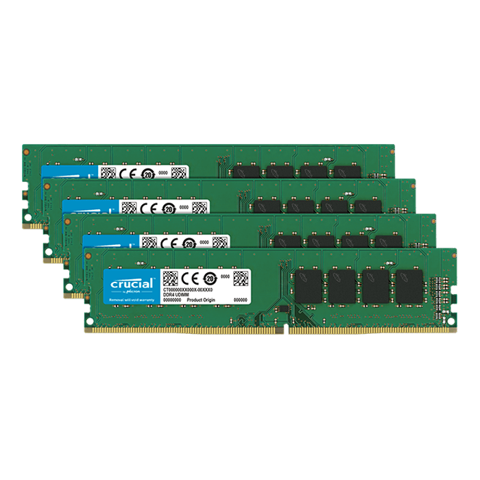 32GB Kit (4 x 8GB) Single-Rank DDR4 2666MHz, CL19, DIMM Memory