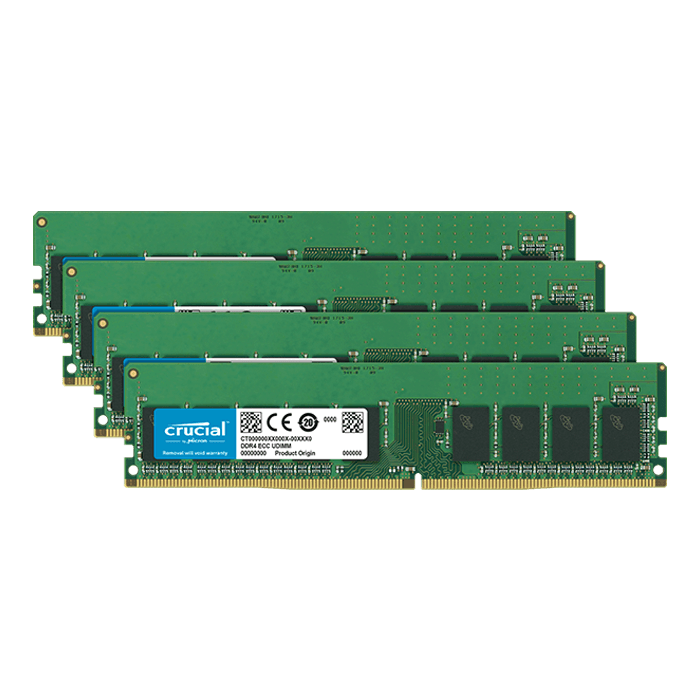 32GB (4 x 8GB) Dual-Rank, DDR4 2666MHz, CL19, ECC Unbuffered Memory