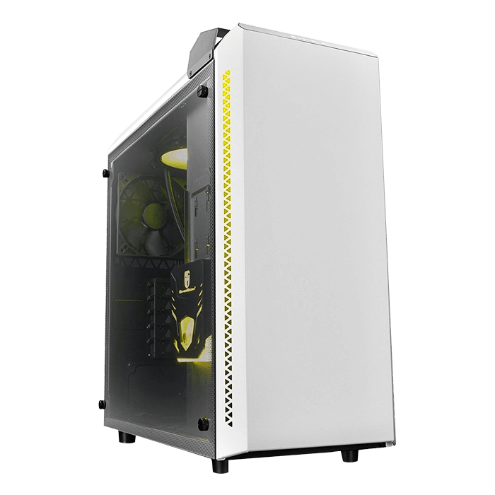 BARONKASE LIQUID WH Tempered Glass, w/ Integrated 120mm Liquid Cooling System, No PSU, ATX, White Mid Tower Case
