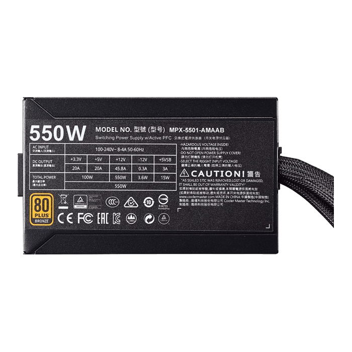 MasterWatt 550, 80 PLUS Bronze 550W, Semi-fanless Modular, ATX Power Supply