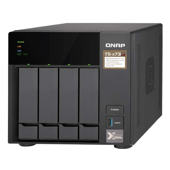 TS-473 4-bay NAS Server, AMD R-Series RX-421ND 2.1GHz, 64GB DDR4 RAM (4GB pre-installed), SATA 6Gb/s, M.2 / 2, GbLAN / 4, USB 3.0 / 4, 250W PSU