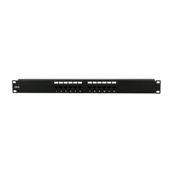 WM1260-PP12C6, 12U, 600mm Depth, Wallmount Server Cabinet with 1U 12-port Cat6 Patch Panel