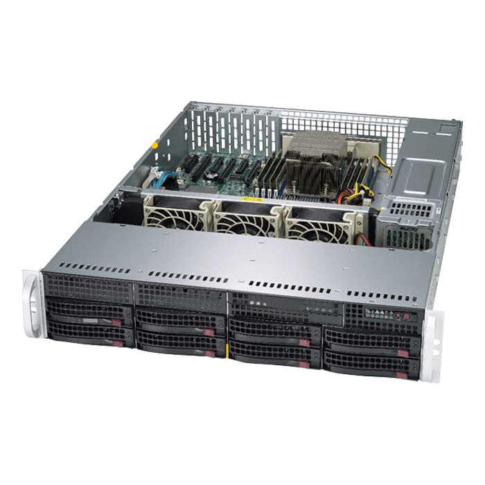 A+ Server 2013S-C0R, 2U, AMD EPYC™ 7000, 8x SATA/SAS, Broadcom 3008, 8x DDR4, Dual 1Gb Ethernet, 740W Rdt PSU