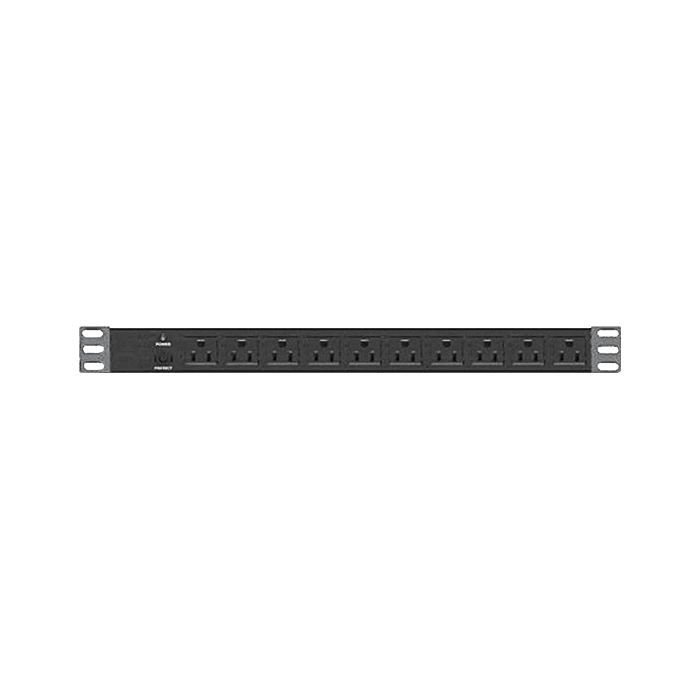 WO45AB-PD10, 45U, 4 Post Open Frame Rack with 10 Outlet Overload Protection PDU