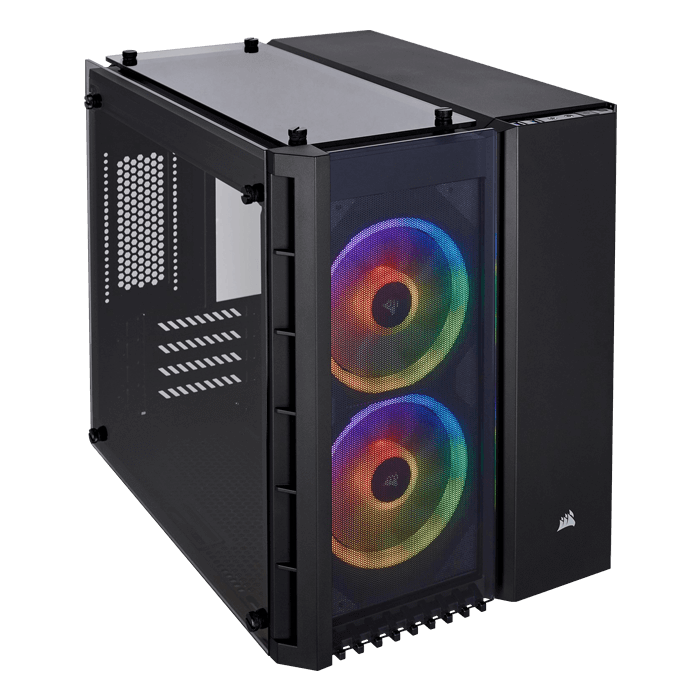 Crystal Series 280X RGB Tempered Glass, No PSU, microATX, Black, Cube Case