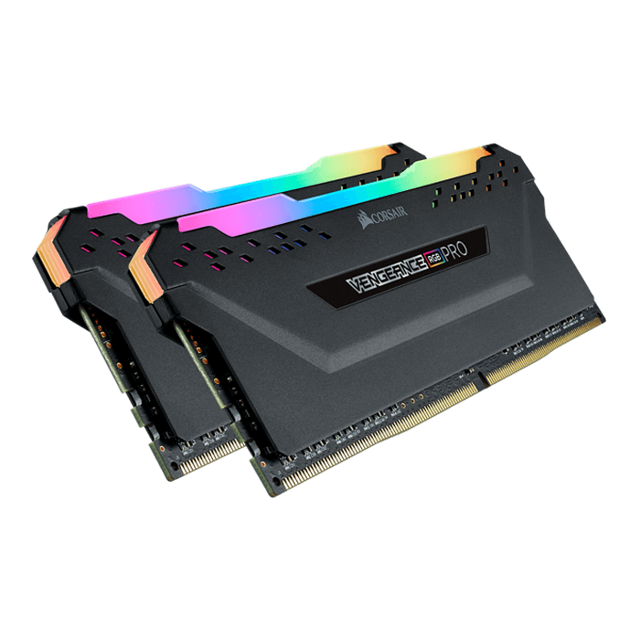 16GB Kit (2 x 8GB) Vengeance RGB Pro DDR4 3200MHz, CL16, Black, RGB LED, DIMM Memory
