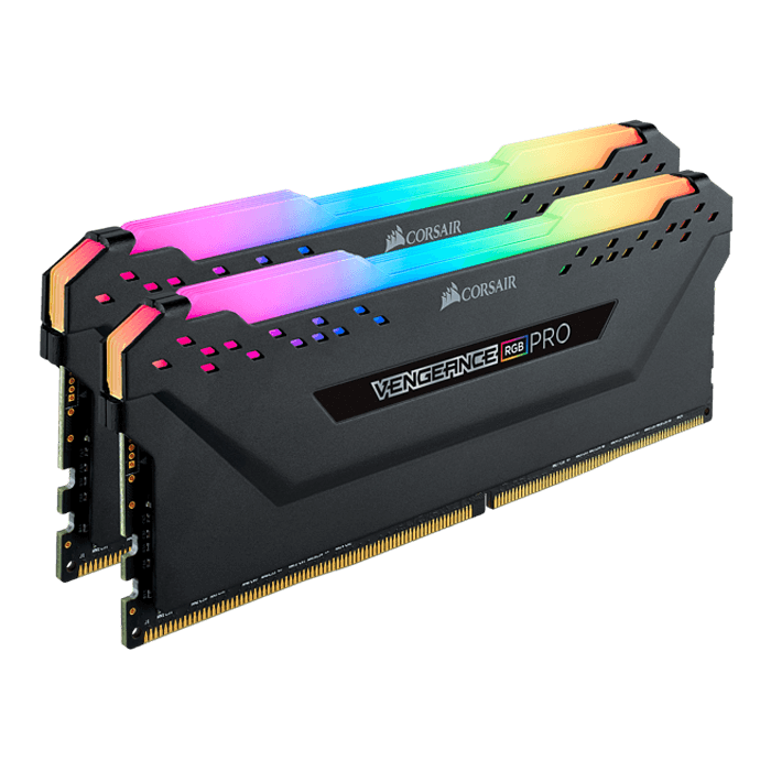 16GB Kit (2 x 8GB) Vengeance RGB Pro DDR4 3600MHz, CL18, Black, RGB LED, DIMM Memory