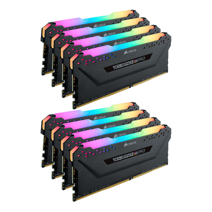 64GB Kit (8 x 8GB) Vengeance RGB Pro DDR4 3600MHz, CL18, Black, RGB LED,  DIMM Memory