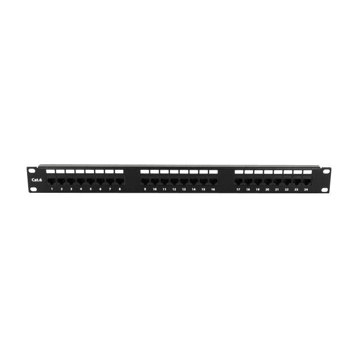 WO22AB-PP24C6, 22U, 4-Post Open Frame Rack with 1U 24-port Cat6 Patch Panel