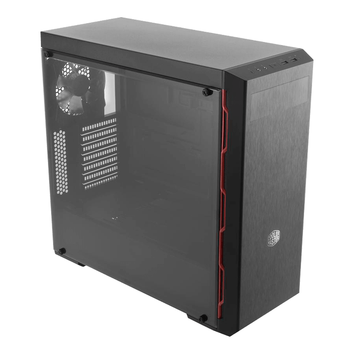 MasterBox MB600L Acrylic Side Panel, No PSU, ATX, Black/Red, Mid Tower Case