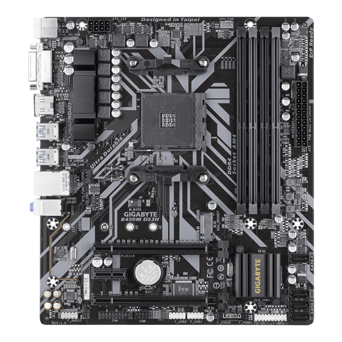 B450M DS3H, AMD B450 Chipset, AM4, HDMI, microATX Motherboard