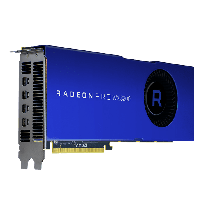 Radeon Pro WX 8200, 1200 - 1530MHz, 8GB HBM2, Graphics Card