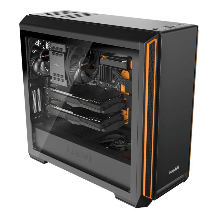 Silent Base 601 Tempered Glass, No PSU, E-ATX, Black/Orange, Mid Tower Case