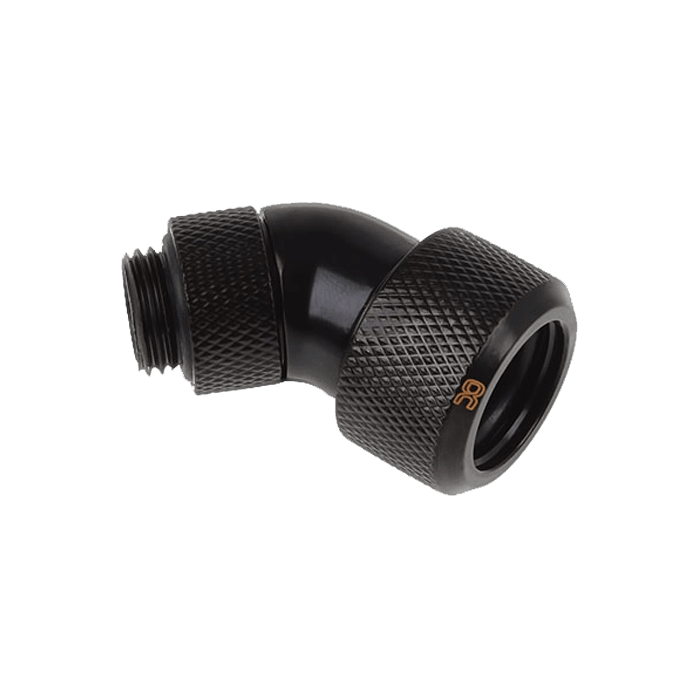 "Eiszapfen 16mm (5/8"") HardTube Compression Fitting 45° Rotatable G1/4 - Knurled - Deep Black"