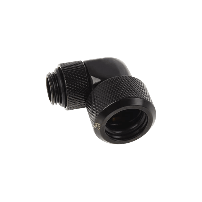 "Eiszapfen 16mm (5/8"") HardTube Compression Fitting 90° Rotatable G1/4 - Knurled - Deep Black"