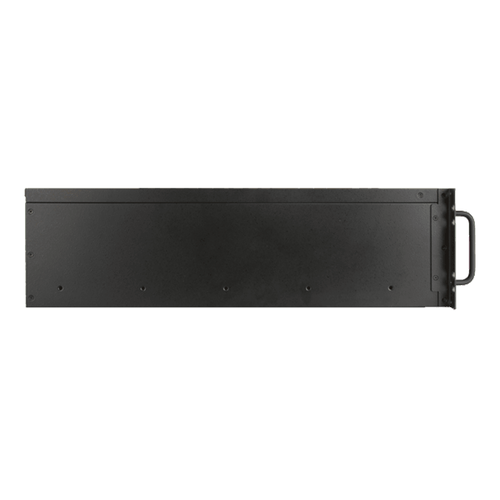 "D-340HB-T-RED, Red HDD Handle, 1x Slim 5.25"", 3x 3.5"", 4x 3.5"" Hotswap Bays, No PSU, ATX, Black/Red, 3U Chassis"