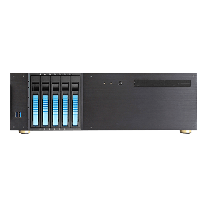"D-350HB-DT-BLUE, Blue HDD Handle, 1x Slim 5.25"", 3x 3.5"", 5x 3.5"" Hotswap Bays, No PSU, ATX, Black/Blue, 3U Chassis"