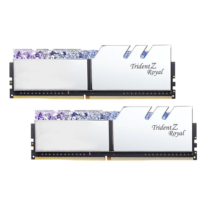 16GB Kit (2 x 8GB) Trident Z Royal DDR4 3200MHz, CL16, Silver, RGB LED, DIMM Memory