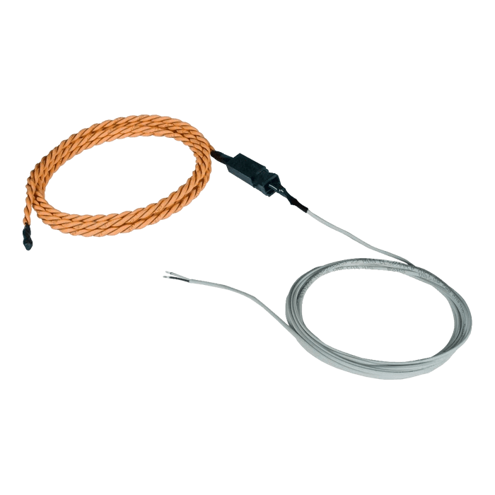 Low-Cost Liquid Detection Sensor, Rope-Style - Length 100 ft water sensor cable, 5 ft 2-wire cable