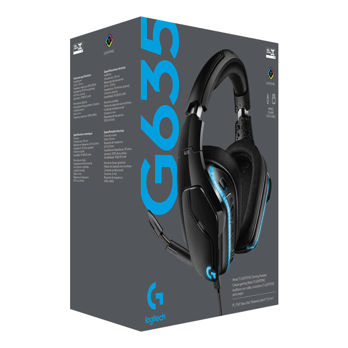 G635, 7.1 Surround Sound, RGB LED, 3.5mm/USB, Black, Gaming Headset