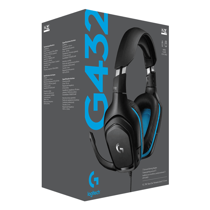 G432, 7.1 Surround Sound, USB/3.5mm, Black/Blue, Gaming Headset