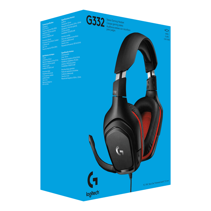 G332, Stereo, 3.5mm, Black/Red, Gaming Headset